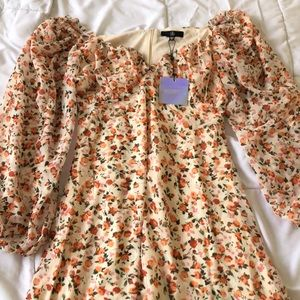Orange ditzy print milkmaid skater dress